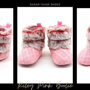 Riley Pink and White Faux Fur Baby Bootie Slippers